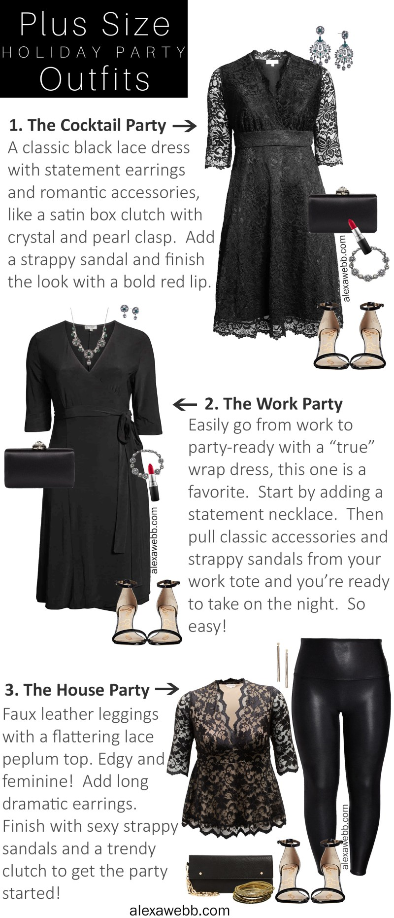 Plus Size Holiday Party Outfits with Kiyonna - Plus Size Cocktail Dress and Wrap Dress - Alexa Webb