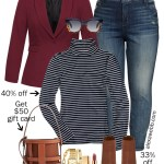 2019 Plus Size Cyber Monday Sales - Plus Size Burgundy Blazer Casual Outfit for Fall and Winter with Jeans and a Stripe Turtleneck - Alexa Webb #alexawebb #plussize