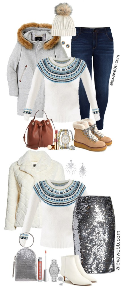 Plus Size Fair Isle Sweater Outfit - Alexa Webb