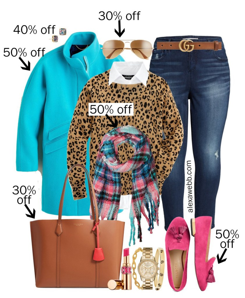 2019 Plus Size Black Friday Deals – Fall Brights with Turquoise Coat, Leopard Sweater, Plaid Scarf, and Hot Pink Loafers - Alexa Webb