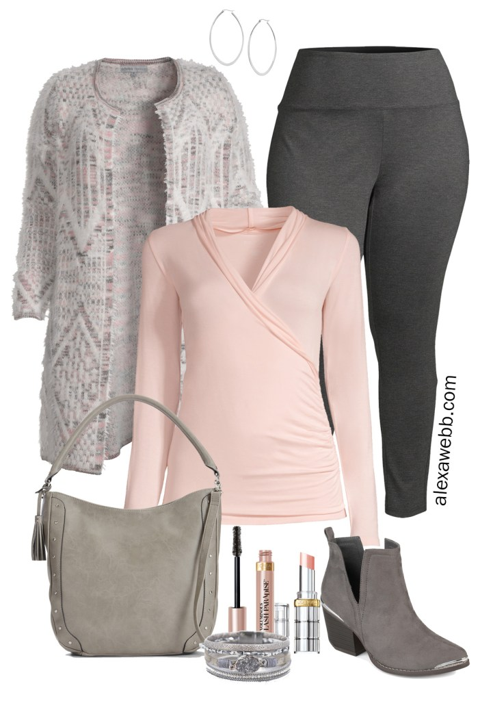 Plus Size Fall Leggings Outfit with Walmart featuring a plus size cardigan, blush pink wrap top, grey ponte leggings, and ankle booties - Alexa Webb