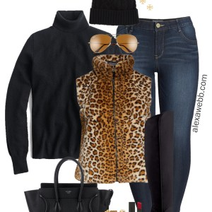 Plus Size Leopard Vest Outfit with a black turtleneck sweater, skinny jeans, wide calf OTK boots, Celine handbag, and beanie - Alexa Webb #plussize #alexawebb
