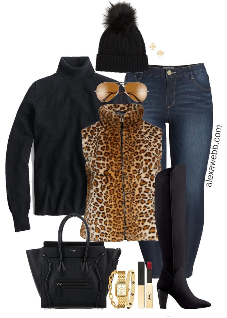 Plus Size Leopard Vest Outfit with a black turtleneck sweater, skinny jeans, wide calf OTK boots, Celine handbag, and beanie - Alexa Webb #plussize #alexawebb