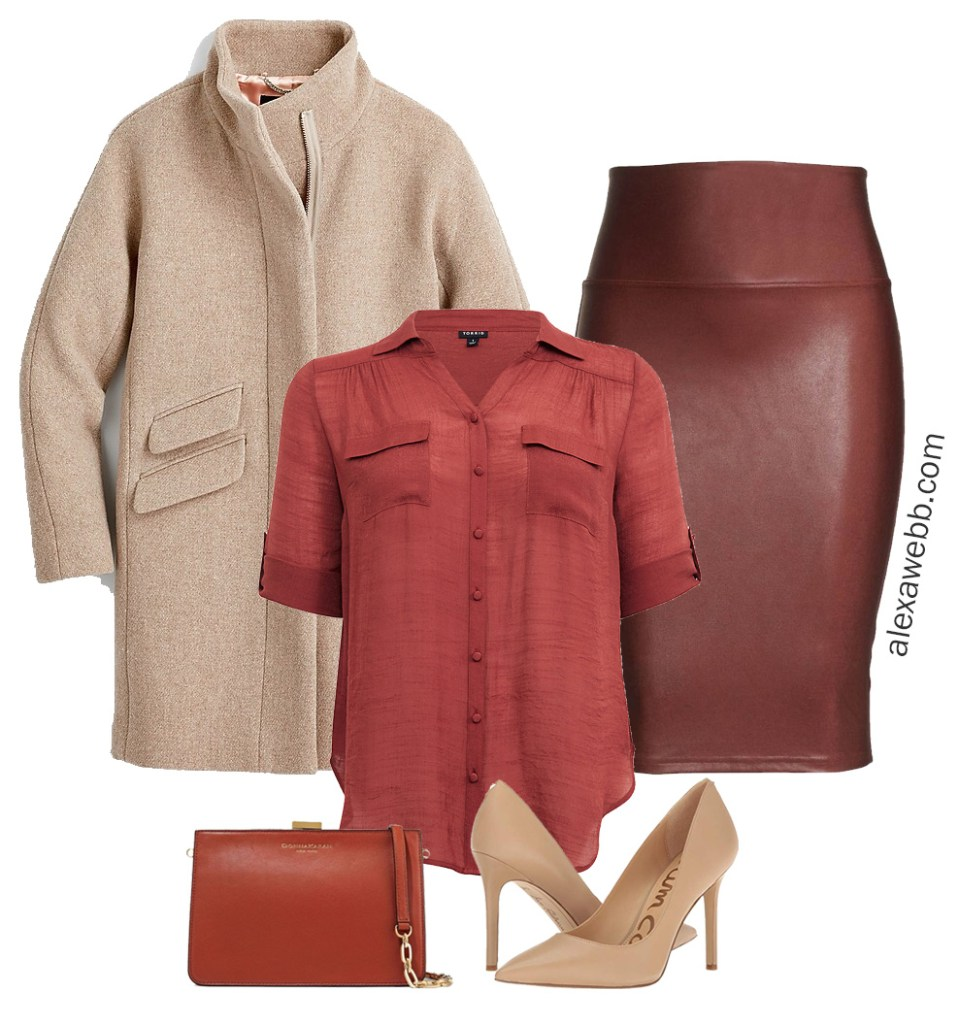 Plus Size Meghan Markle Inspired Outfit Idea with faux leather skirt - Alexa Webb #plussize #alexawebb