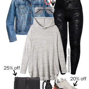 2019 Plus Size Black Friday Deals – Fall Athleisure with Hoodie, Faux Leather Leggings, Denim Jacket, and Sneakers - Alexa Webb