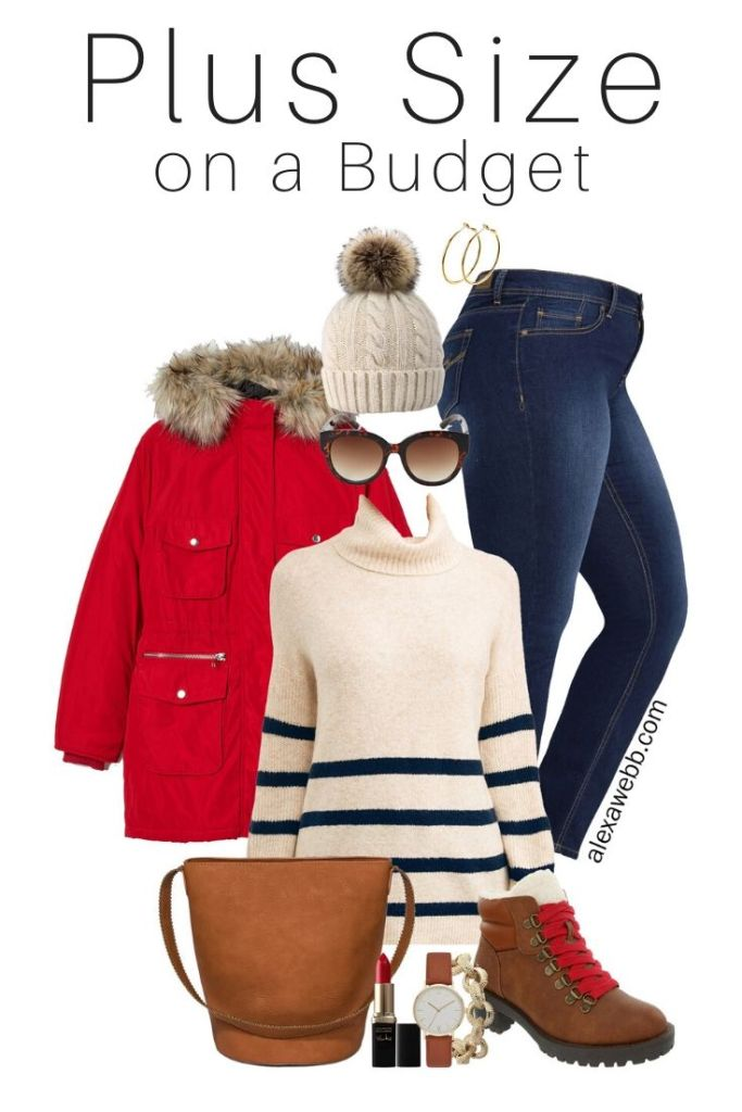 Plus Size on a Budget - Red Parka, Striped Sweater with Jeans and Hiker Boots - Alexa Webb