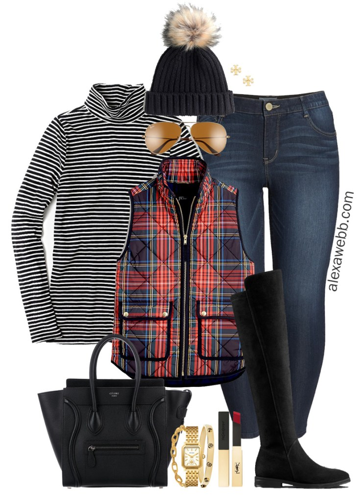 Plus Size Tartan Plaid Vest Outfit with wide calf OTK boots, skinny jeans, striped turtleneck and Celine bag. Alexa Webb #plussize #alexawebb