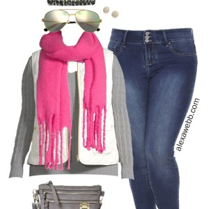 Plus Size Vest Outfit with JCPenney - A grey sweater, white puffer vest, skinny jeans, neon pink scarf, beanie, and sneakers make this winter outfit - Alexa Webb #plussize #alexawebb