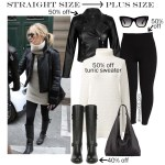 2019 Plus Size Black Friday Deals – Kate Hudson's Outfit - Winter Outfit Idea - Biker Jacket, Tunic Sweater, Leggings, Wide Calf Boots - alexawebb.com - Alexa Webb