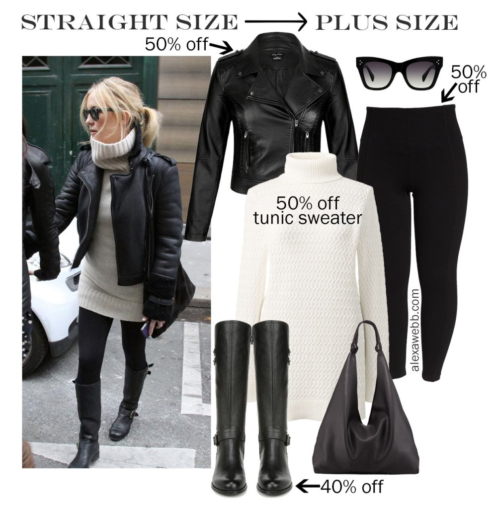 2019 Plus Size Black Friday Deals – Kate Hudson's Outfit - Winter Outfit Idea - Biker Jacket, Tunic Sweater, Leggings, Wide Calf Boots - alexawebb.com - Alexa Webb