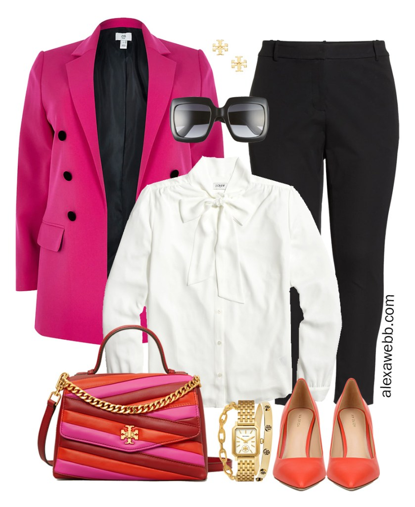 Plus Size Bright Work Outfit with hot pink blazer, ankle pants, and orange pumps - Alexa Webb
