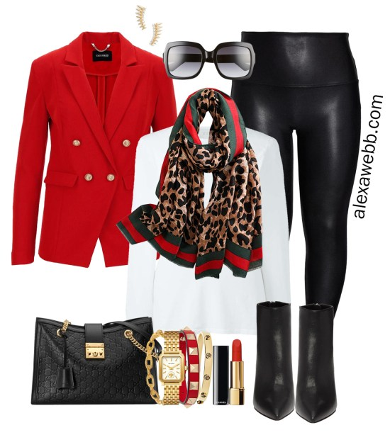 Plus Size Gucci Scarf Outfit Ideas - Faux Leather Leggings, Red Blazer, White T-Shirt, Ankle Booties - Alexa Webb