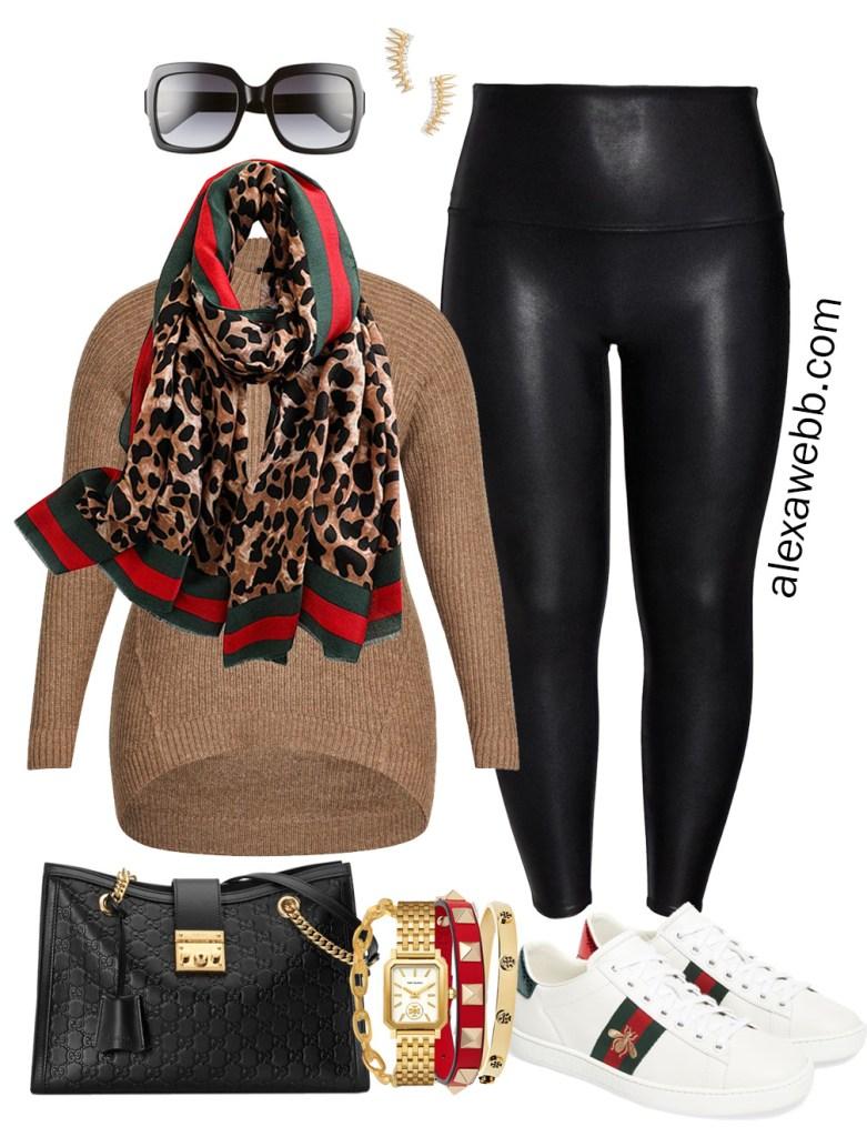 Plus Size Gucci Scarf Outfit Ideas - Faux Leather Leggings, Tunic Sweater, Gucci Sneakers - Alexa Webb - Plus Size Fashion for Women - #alexawebb #plussize