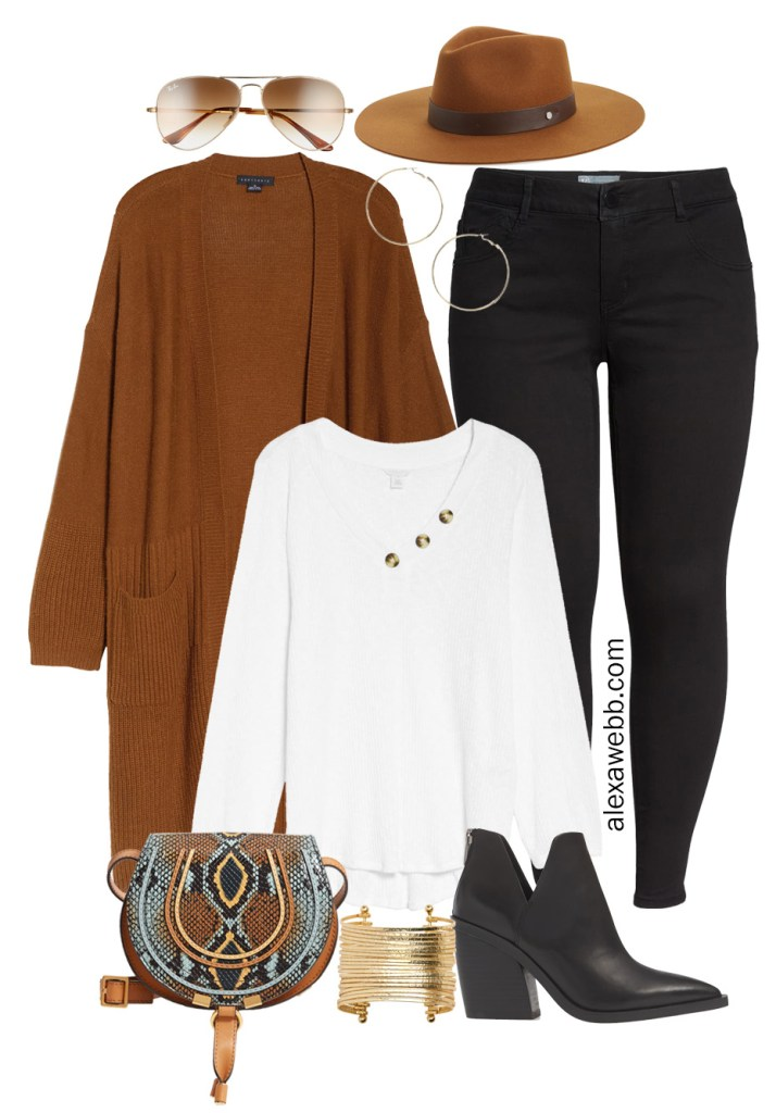 Plus Size Long Cardigan Casual Outfit Ideas with Black Jeans, White Henley, Ankle Booties, and Chloe Crossbody Bag - Alexa Webb