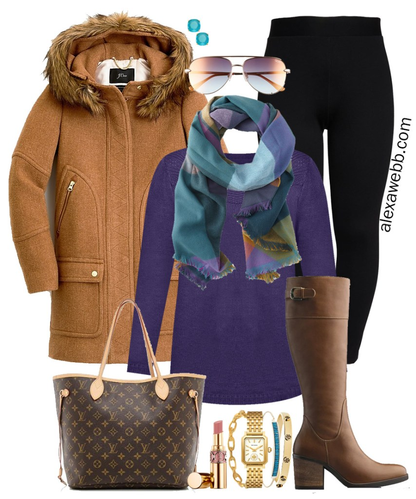 Plus Size Winter Leggings Outfits with a purple sweater, colorful scarf, faux fur trimmed hooded parka, black ponte leggings, wide calf riding boots, and Louis Vuitton Neverfull bag - Alexa Webb - #plussize #alexawebb