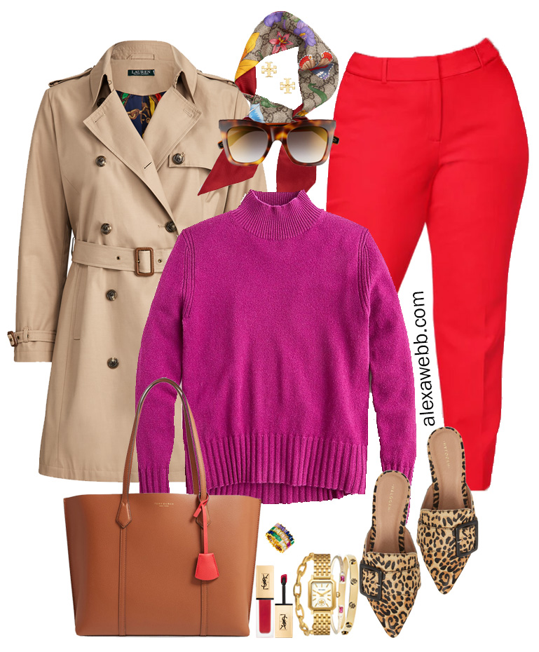 Plus Size Color Blocking - Purple JCrew Sweater, Red Pants, Leopard Mules, Trench Coat, Scarf, and Tote Bag - Alexa Webb