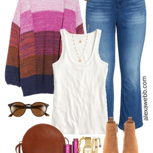 Plus Size Ombré Cardigan Outfit with Bootcut Jeans. Tank, Ankle Booties, Madewell Crossbody Bag - Alexa Webb