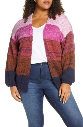 Plus Size Ombré Cardigan in Pink and Navy Stripes - Plus Size Fashion for Women - Alexa Webb