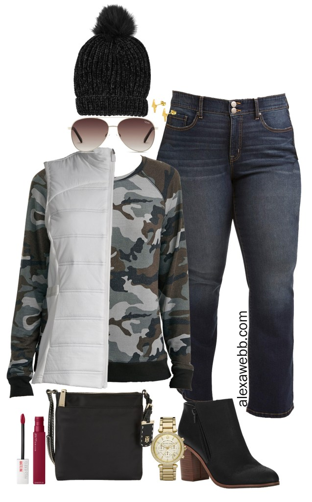 Plus Size Camo Outfit with Walmart - Plus Size Jeans Outfit - Alexa Webb