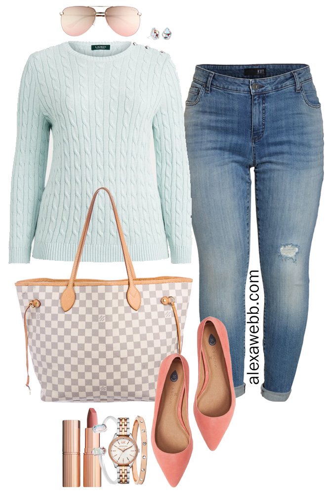 Plus Size Spring Transition Outfit with White Ankle Jeans, Cotton Aqua Sweater, Louis Vuitton Neverfull, Coral Flats - Alexa Webb #plussize #alexawebb