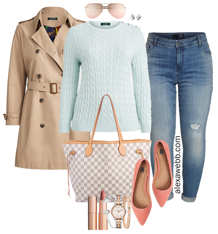Plus Size Spring Transition Outfit with Trench Coat, White Ankle Jeans, Cotton Aqua Sweater, Louis Vuitton Neverfull, Coral Flats - Alexa Webb #plussize #alexawebb