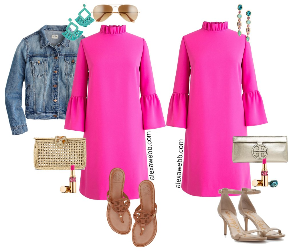 Plus Size Pink Shift Dress with Outfit Ideas for Day and Night. Statement Earrings and Sandals - Alexa Webb #plussize #alexawebb