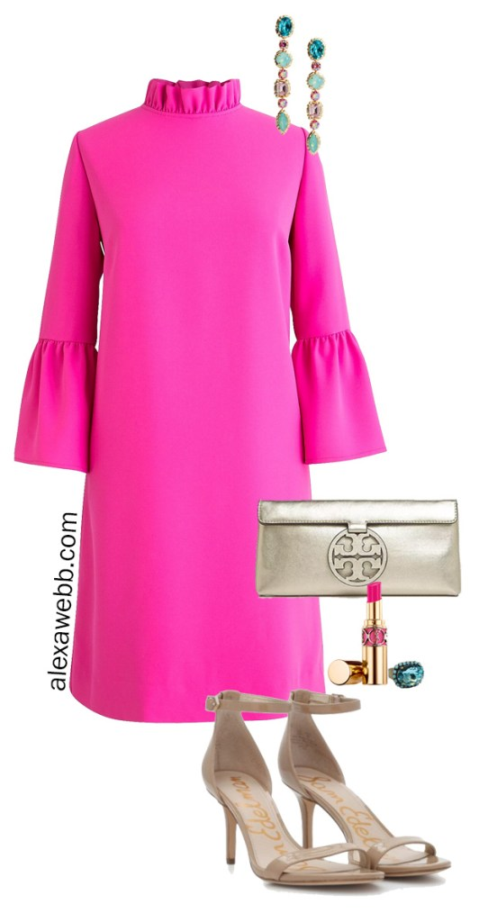 Plus Size Pink Shift Dress with Outfit Ideas for Night. Statement Earrings and Sandals - Alexa Webb #plussize #alexawebb