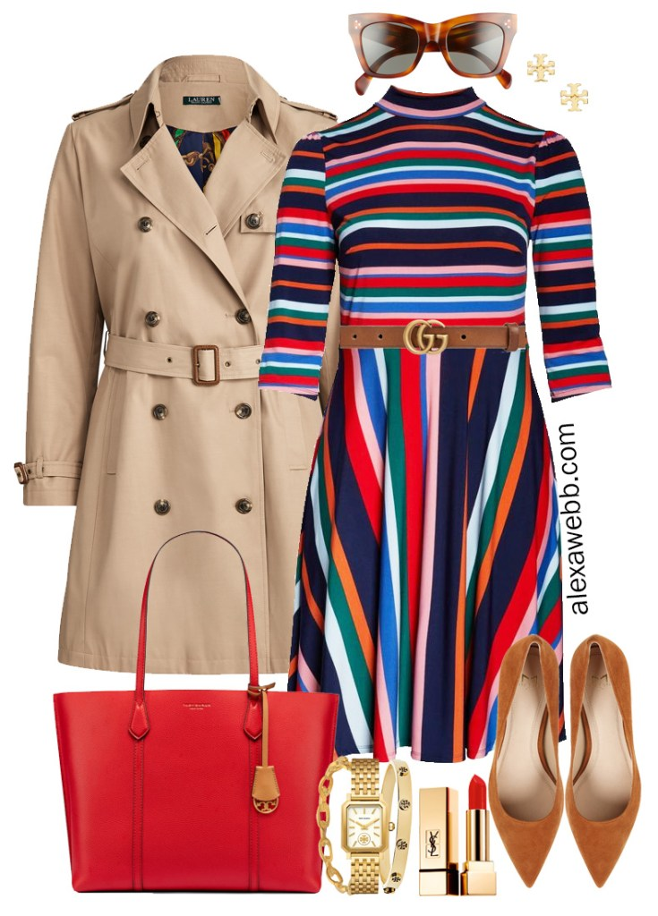 Plus Size Stripe Dress Outfit - Eloquii dress with Gucci belt, trench coat, Tory Burch tote, and pumps. Perfect for work! Plus Size Fashion for Women - Alexa Webb #plussize #alexawebb