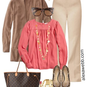 Plus Size Tan Trousers Work Outfits - Coral Blouse and Brown Cardigan - Alexa Webb #plussize #alexawebb
