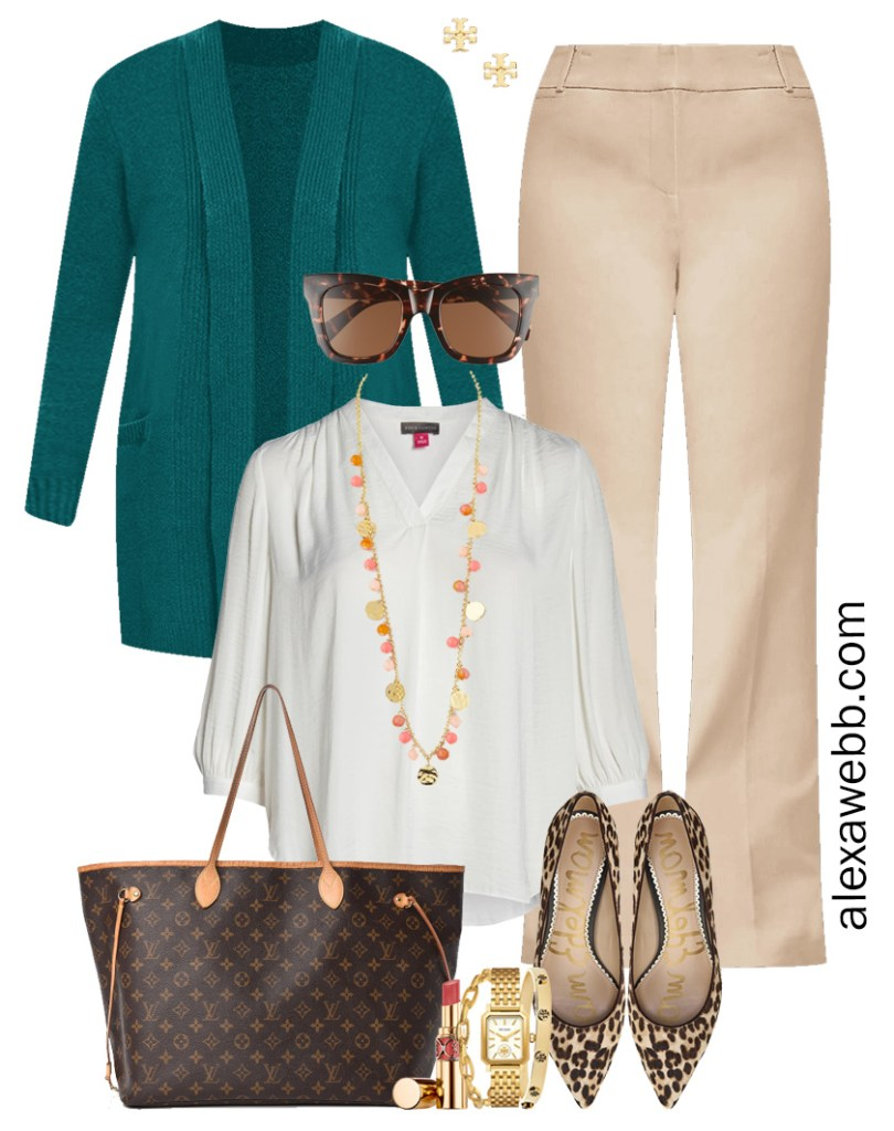 Plus Size Tan Trousers Outfits - Cream Ivory Blouse and Teal Cardigan - Alexa Webb #plussize #alexawebb