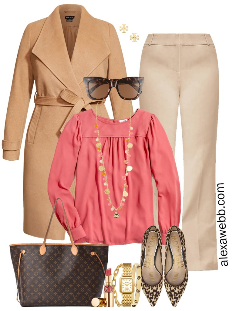 Plus Size Tan Trousers Work Outfits - Coral Blouse and Camel Wrap Coat - Alexa Webb #plussize #alexawebb