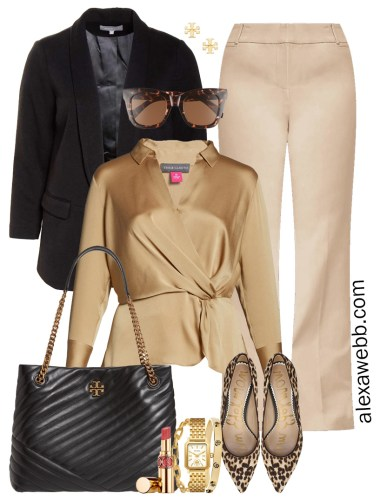 Plus Size Tan Trousers & Black Blazer Outfits for Work with Satin Blouse, Leopard Pumps, and Tory Burch Quilted Tote Bag - Alexa Webb #plussize #alexawebb
