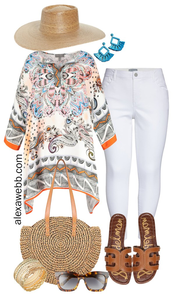 Plus Size Beach Vacation Outfits - Plus Size Tunic, White Jeans, Straw Tote, Sandals - Alexa Webb #plussize #alexawebb