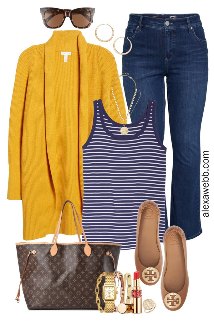 Plus Size Yellow Cardigan Outfit with navy stripe tank, bootcut jeans, Louis Vuitton Neverfull tote, and Tory Burch flats. Alexa Webb #plussize #alexawebb