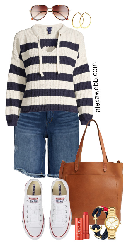 Plus Size Nautical Sweater Outfit with stripe navy sweater and denim shorts, converse sneakers and tote bag. Alexa Webb #alexawebb