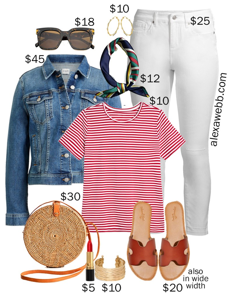 Plus Size on a Budget - Red Stripe Tee with denim jacket, white skinny jeans, scarf, rattan circle crossbody bag, sandals - Alexa Webb #plussize #alexawebb