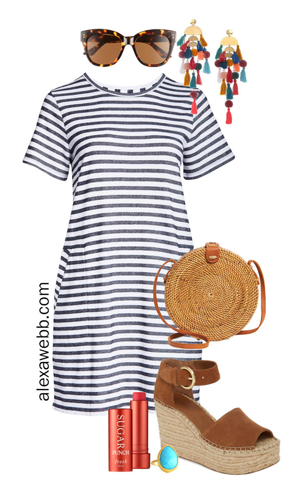 Plus Size Stripe T-Shirt Dress Outfit with Statement Boho Earrings, Rattan Crossbody, and Espadrille Sandals - Alexa Webb #plussize #alexawebb