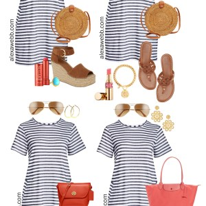 Plus Size Stripe T-Shirt Dress Outfits - How to Style A Plus Size Striped T-Shirt Dress with Sneakers and Sandals. Preppy and Boho Styles - Alexa Webb #plussize #alexawebb