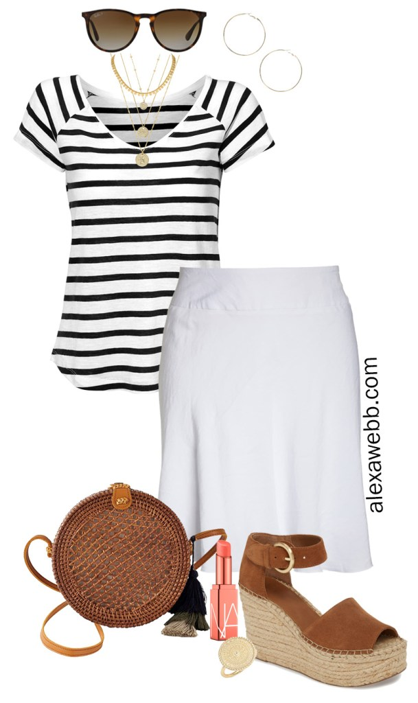 Plus Size Beach Vacation Outfit Idea with Striped Tee, White Skirt and Platform Espadrille Sandals - Alexa Webb #plussize #alexawebb