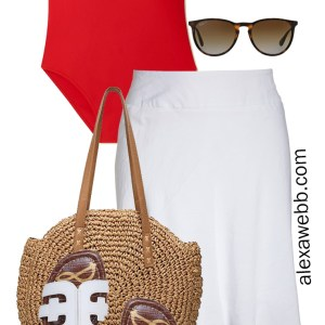 Plus Size Red Swimsuit Beah Outfit Idea with White Skirt Cover-up and Slide Sandals - Alexa Webb #plussize #alexawebb