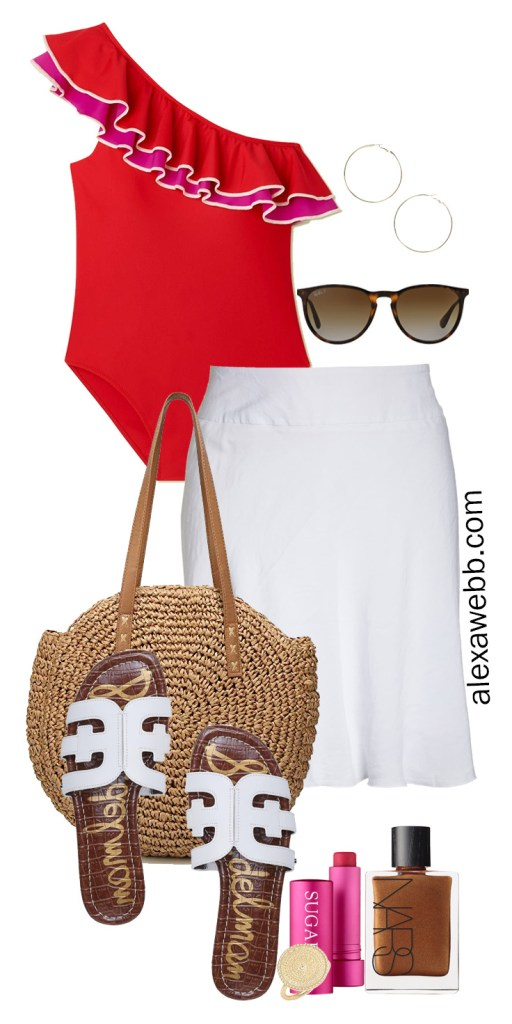 Plus Size Red Swimsuit Beach Outfit Idea with White Skirt Cover-up and Slide Sandals - Alexa Webb #plussize #alexawebb