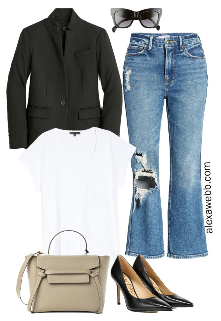 Plus Size Blazer and Jeans Oufit with distressed cropped straight leg jeans, a black blazer, and t-shirt. Plus SIze Fashion for Women from Alexa Webb. #plussize #alexawebb