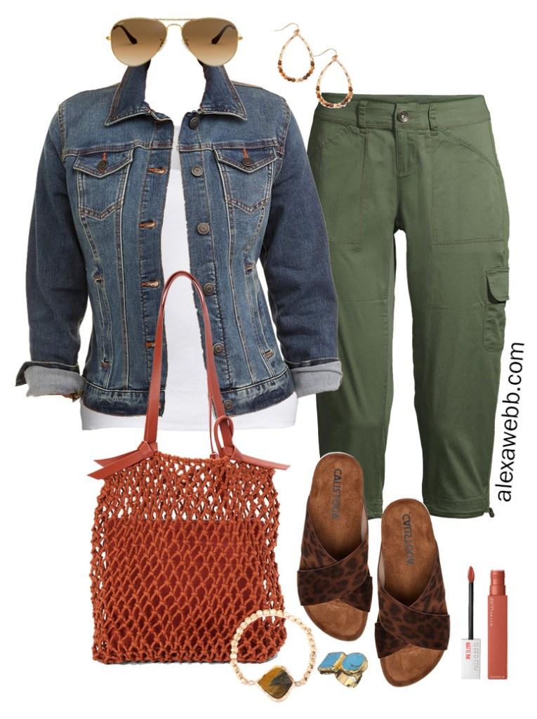 Plus Size Green Cargo Capri Outfit Idea with Denim Jacket, White Tank, Leopard Sandals, Rust Macrame Bag, and Boho Jewelry - Alexa Webb #plussize #alexawebb