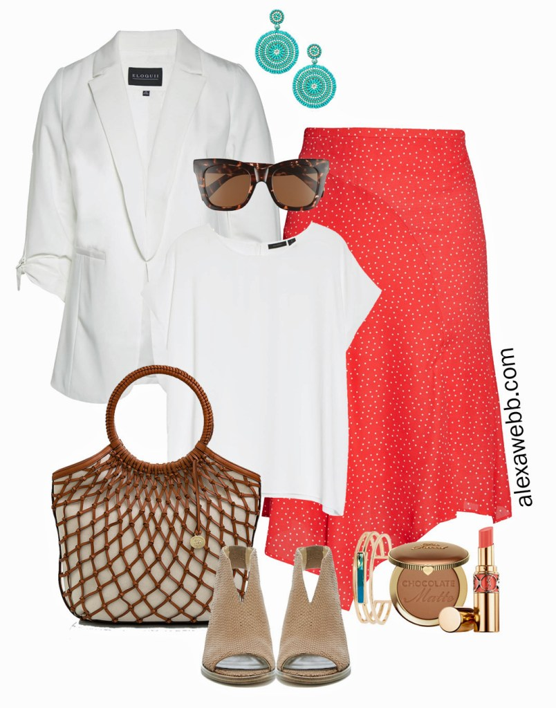 Plus Size Coral Skirt Outfit that is business casual work attire for spring and summer with white blazer - Alexa Webb #plussize #alexawebb