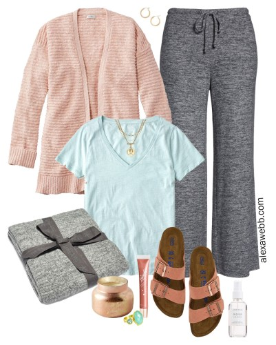 Plus Size Cozy Spring Outfit with Lounge Pants, Mint T-Shirt, Cotton Cardigan, and Birkenstocks - Alexa Webb #plussize #alexawebb