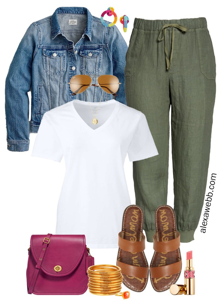 Plus Size Linen Joggers Outfit with white t-shirt, denim jacket, flat sandals, and crossbody bag - Alexa Webb #plussize #alexawebb