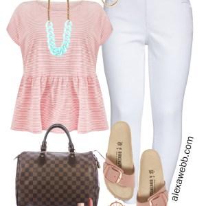 Plus Size Peplum Tee Outfit with white jeans, Birkenstock sandals, and Louis Vuitton Speedy - Alexa Webb #plussize #alexawebb