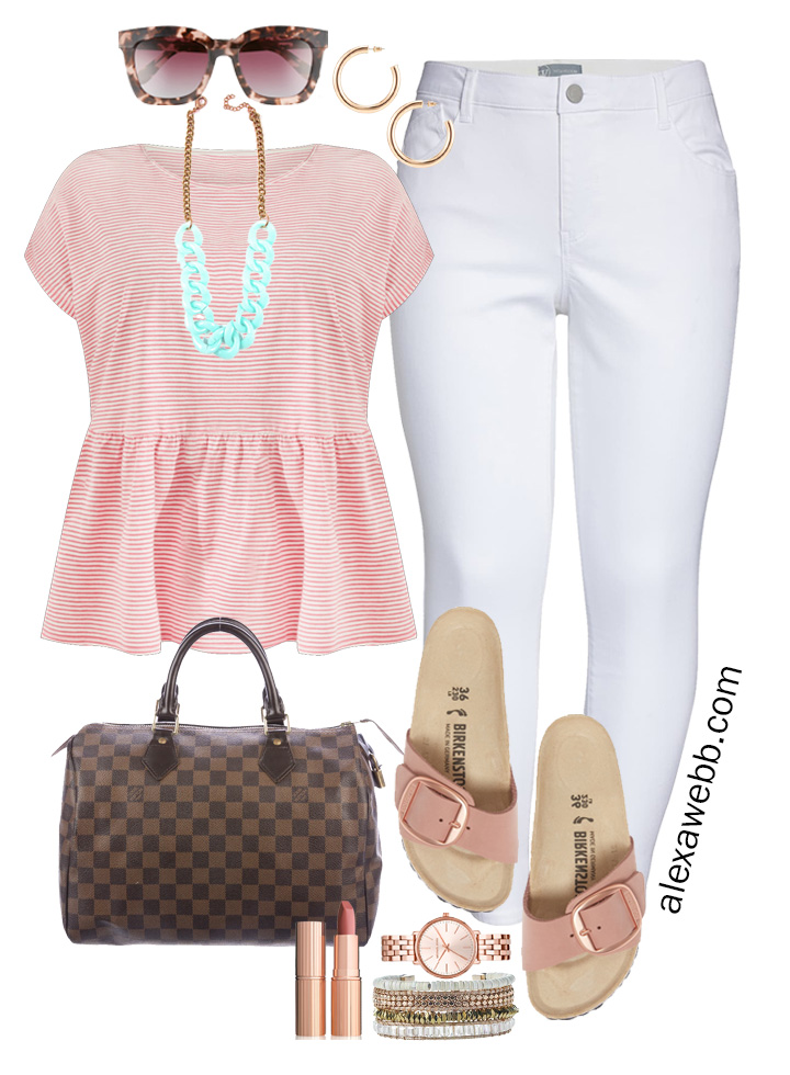 Plus Size Peplum Tee Outfit with white jeans, Birkenstock sandals, and Louis Vuitton Speedy - Alexa Webb #plussize #alexawebb
