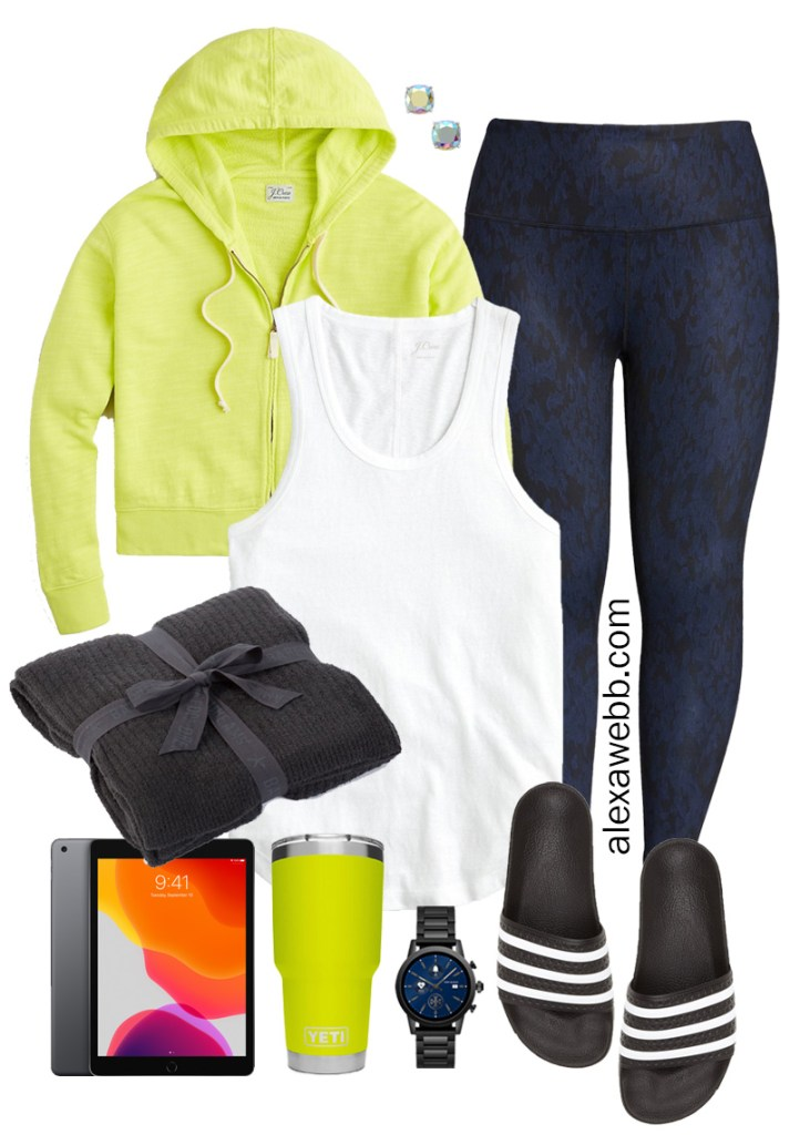 Plus Size Stay Home Outfit with neon yellow hoodie, snake leggings, adidas slides - Alexa Webb #plussize #alexawebb