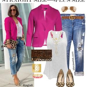 Straight Size to Plus Size – Pink Blazer & Jeans, Leopard Heels and Clutch, with Distressed Boyfriend Jeans - Alexa Webb #plussize #alexawebb